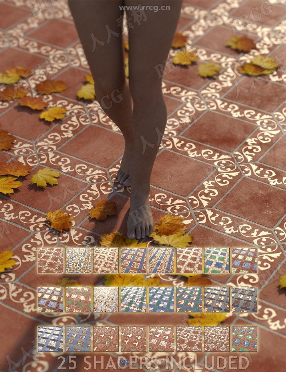 中世纪不同色华丽马赛克瓷砖地板3D模型合集