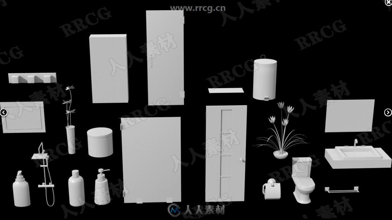 整洁现代简约华丽风格洗手间浴室一体3D模型合集