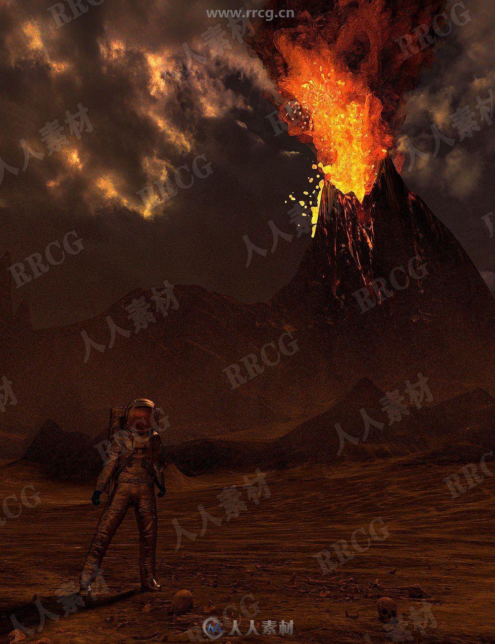 火山爆发烟熏现场天空预设3D模型合集