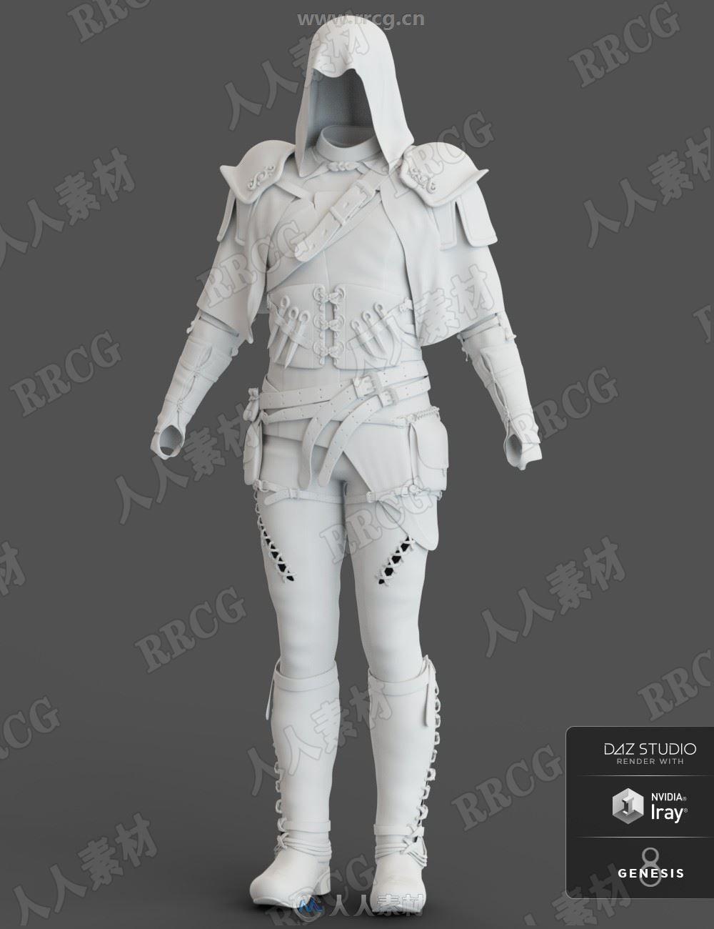 秘密组织乌鸦公会刺客服装3D模型合集