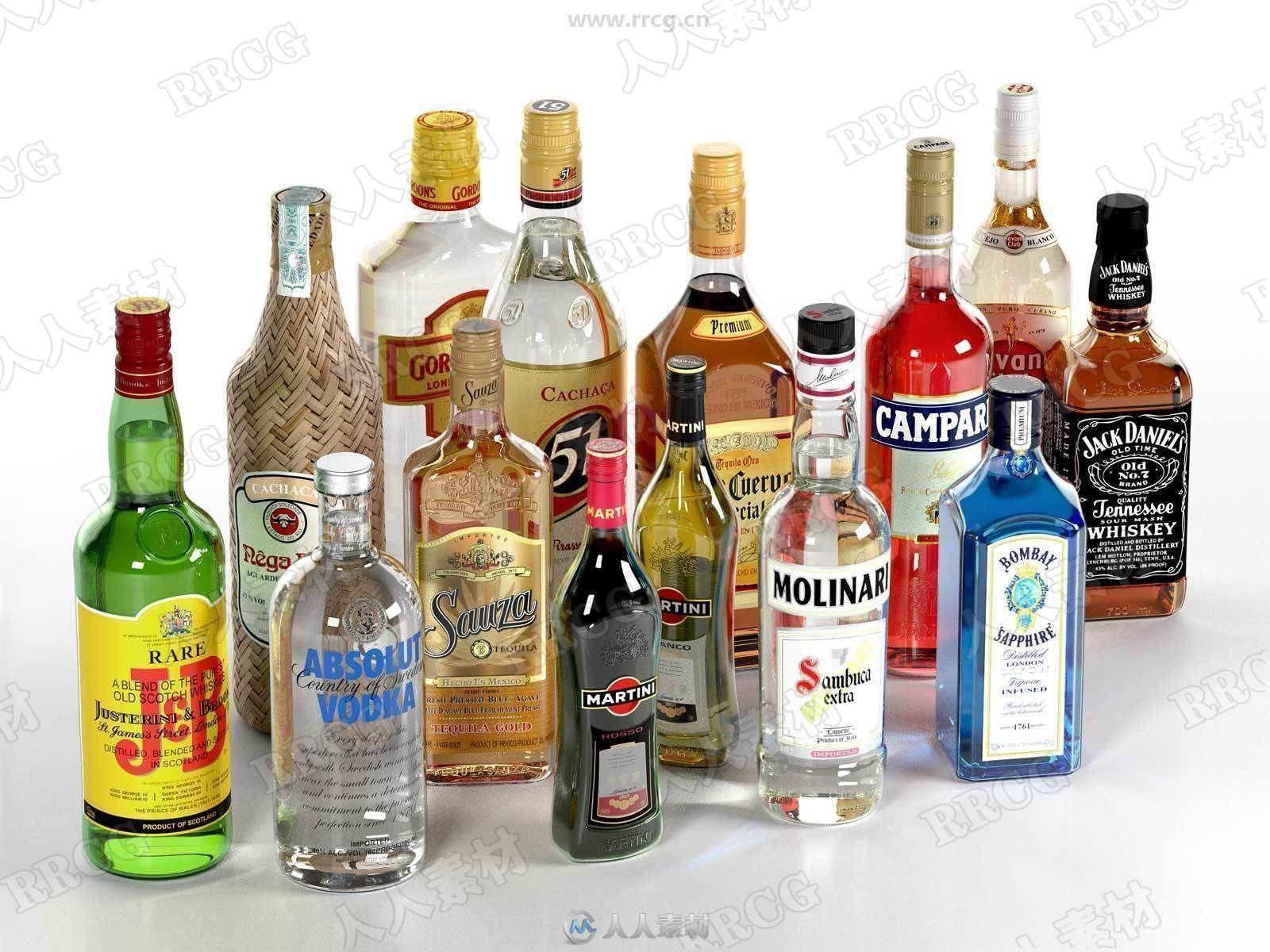 酒瓶酒精饮料包装玻璃瓶3D模型合集