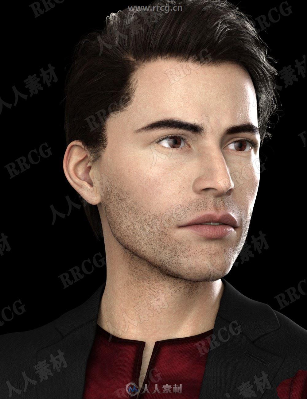精致五官身材具有眉毛细节男性雕刻角色3D模型合集