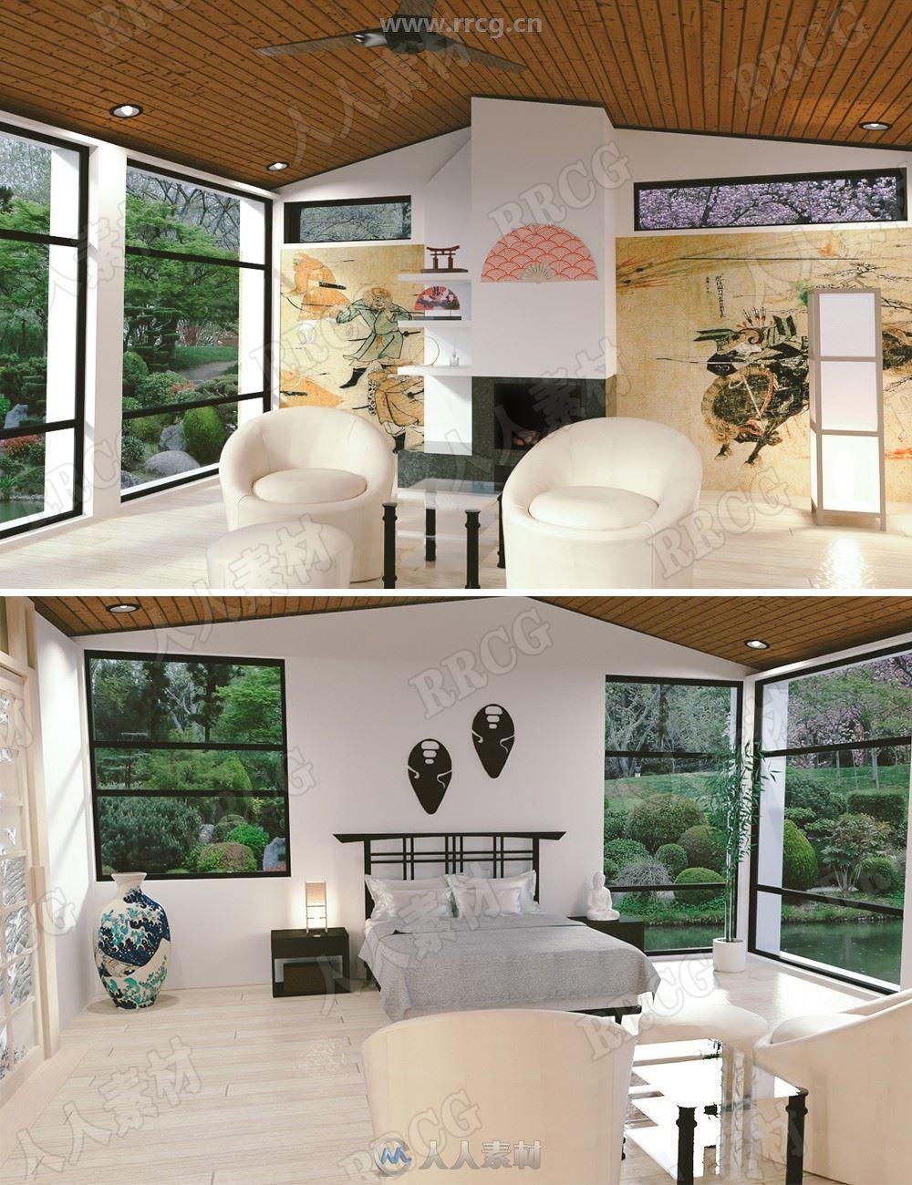 时尚简朴亚洲风格套房室内环境大量道具装饰3D模型合集