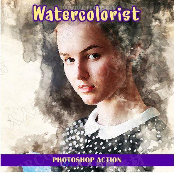 水墨水彩画背景大片颜色虚化艺术图像处理特效PS动作