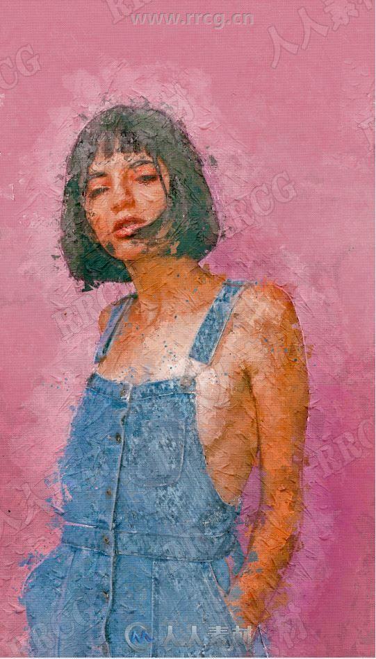 带笔触厚重颜料油画临摹艺术图像处理特效PS动作