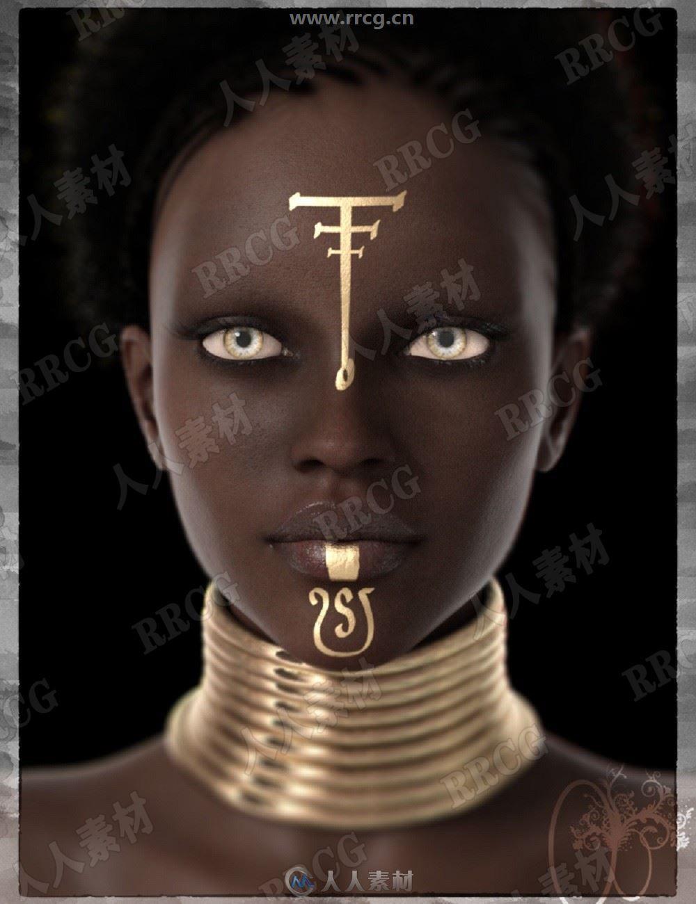 身材苗条手工雕刻金属嘴唇阴影非洲部落女王3D模型合集