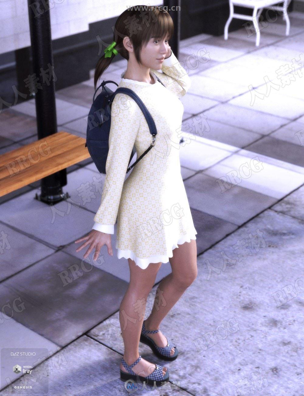 清纯女孩学生日常连衣裙套装3D模型合集