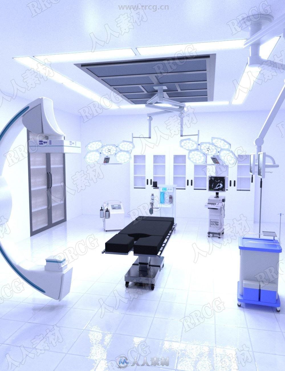 配件仪器齐全医院手术室或医学院实验室3D模型合集