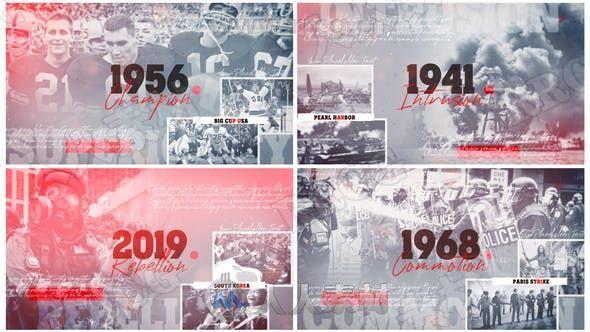 历史故事纪录片时间表相册演绎展示动画AE模板