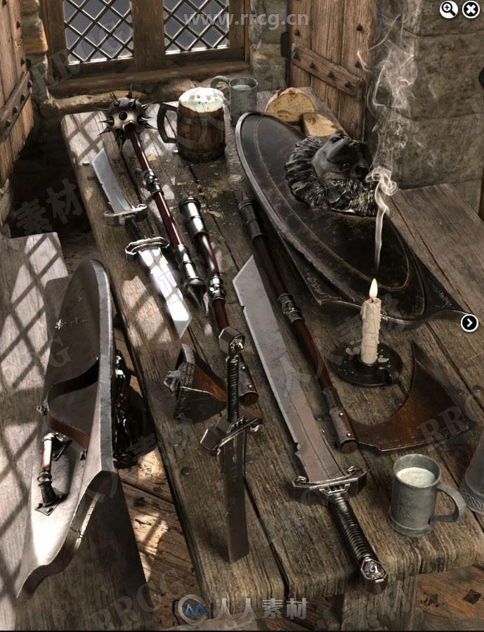 中世纪传统精致雕刻纹理武器道具3D模型合集
