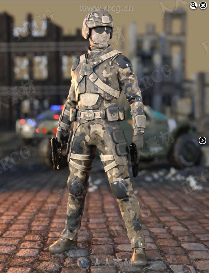 突击士兵防御迷彩男士服装装备3D模型合集