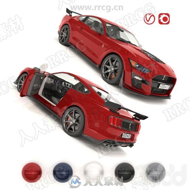 超精细跑车Shelby GT500内外部结构细节3D模型合集