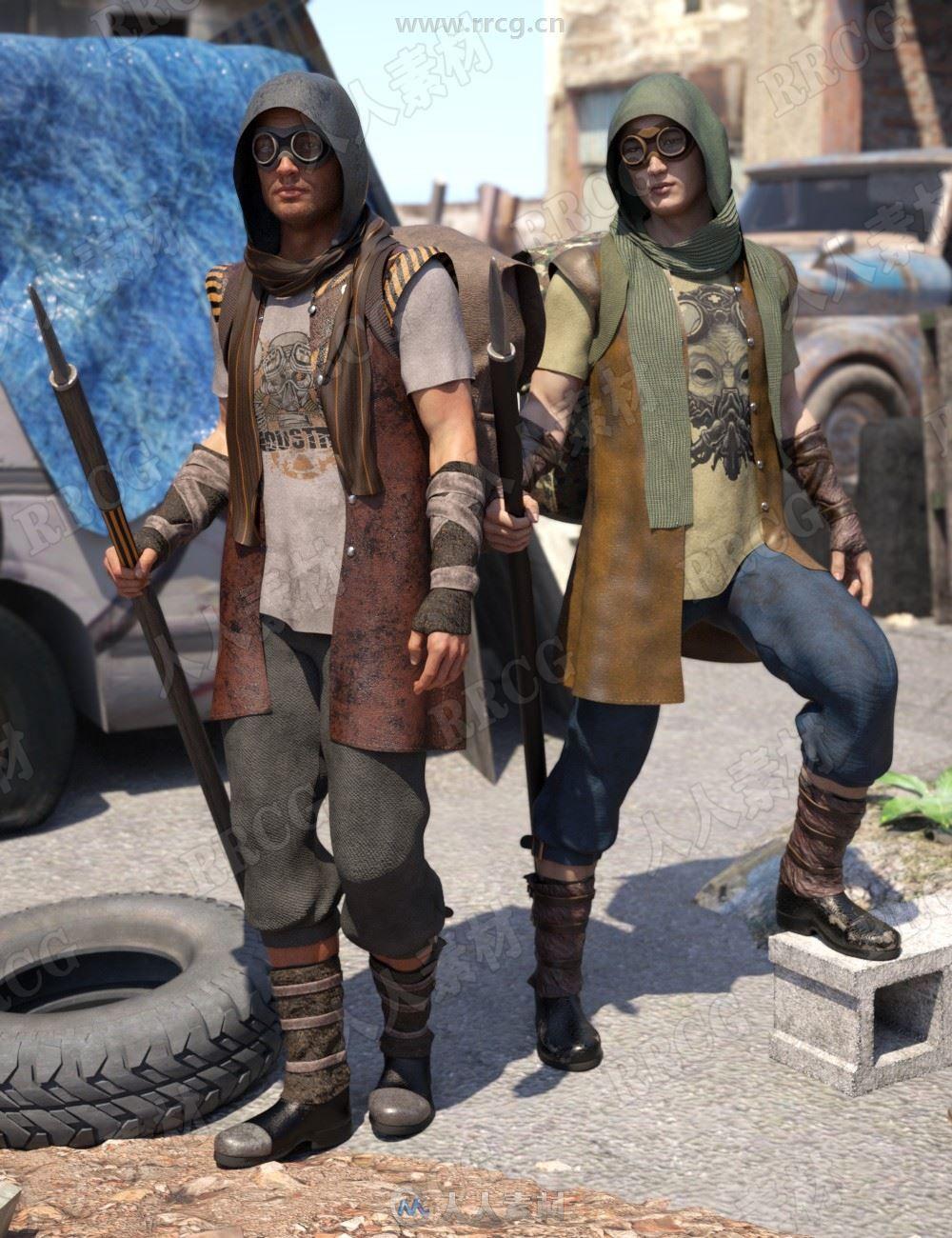 带有防晒头套手握长剑尘埃污垢不整洁男性工地服装3D模型合集