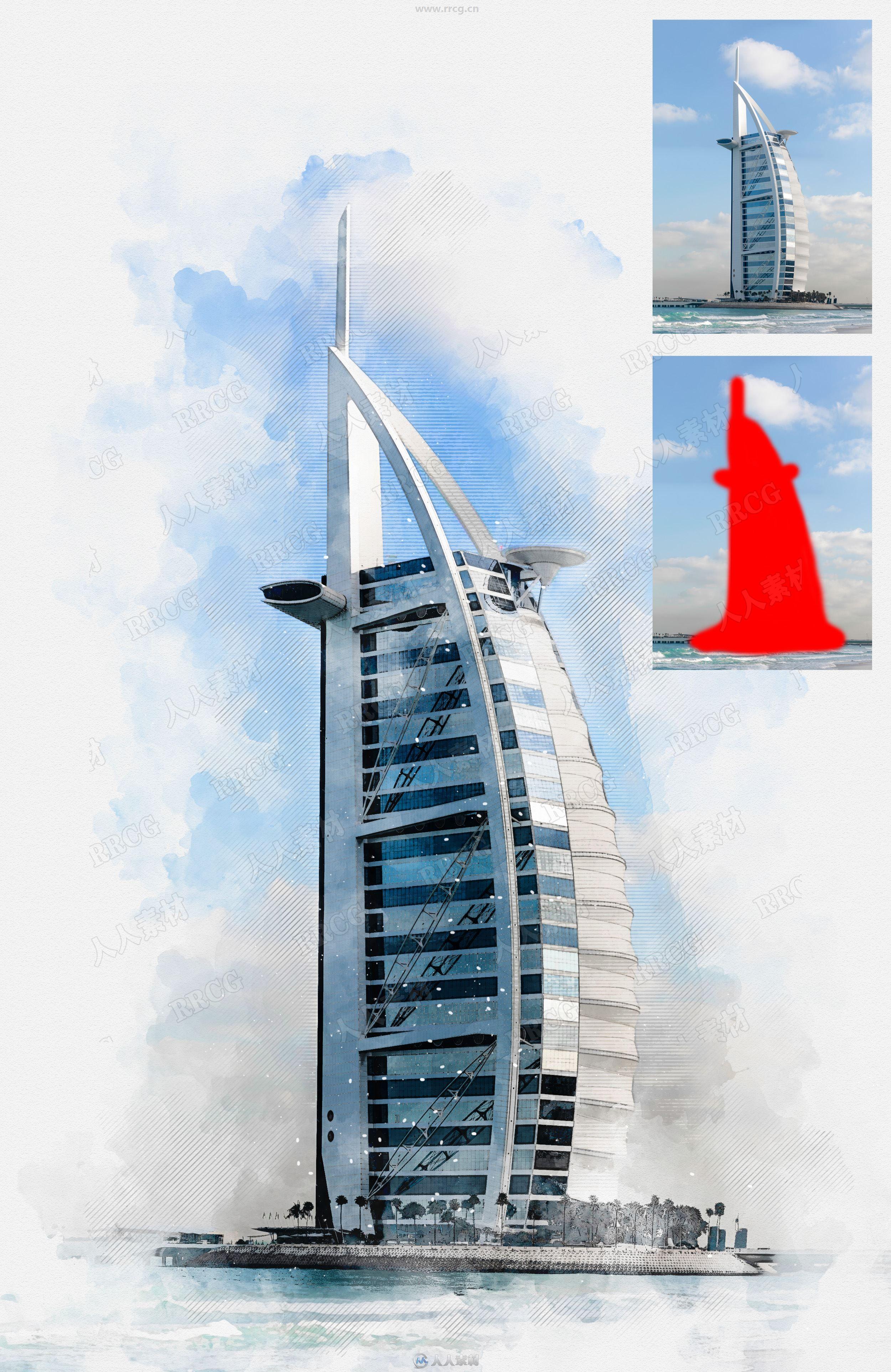 写实建筑物水彩画效果背景虚化艺术图像处理特效PS动作