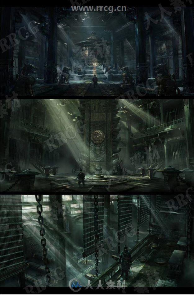 恐怖阴森神秘石室密室地牢机关阁氛围场景原画插画集
