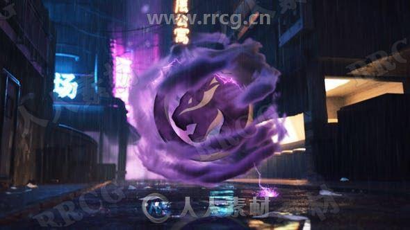 未来派科幻朋克风格乌云围绕音乐雷电LOGO动画演绎AE模板