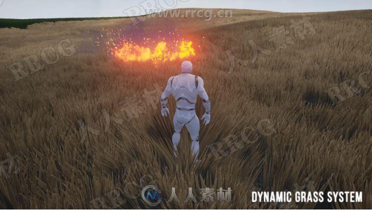 草地添加动态燃烧冲击波等效果行为UE4游戏素材资源