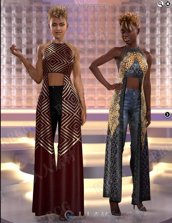干练个性砍袖露脐两边长摆尾花纹女性服装3D模型合集