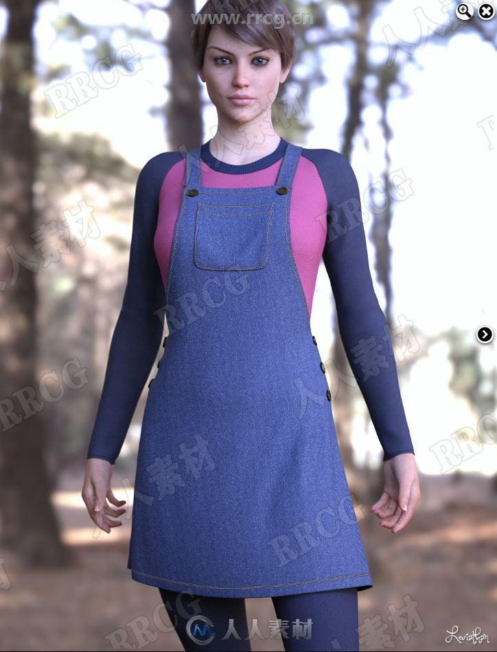 牛仔背带裙搭配插肩暖色T恤运动靴女性秋冬服装3D模型合集