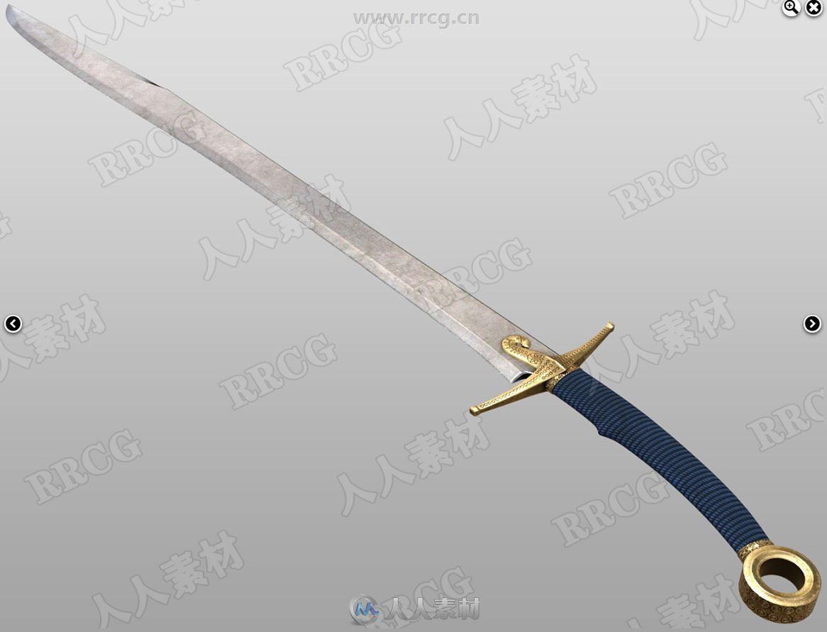 幻想长剑武器和战斗动作姿势3D模型合集