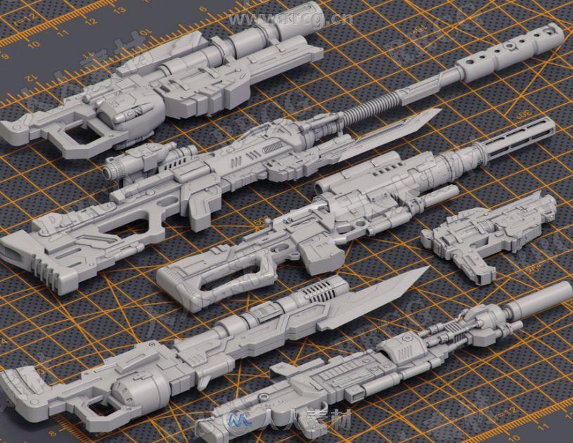 24组高质量科幻游戏步枪3D模型合集