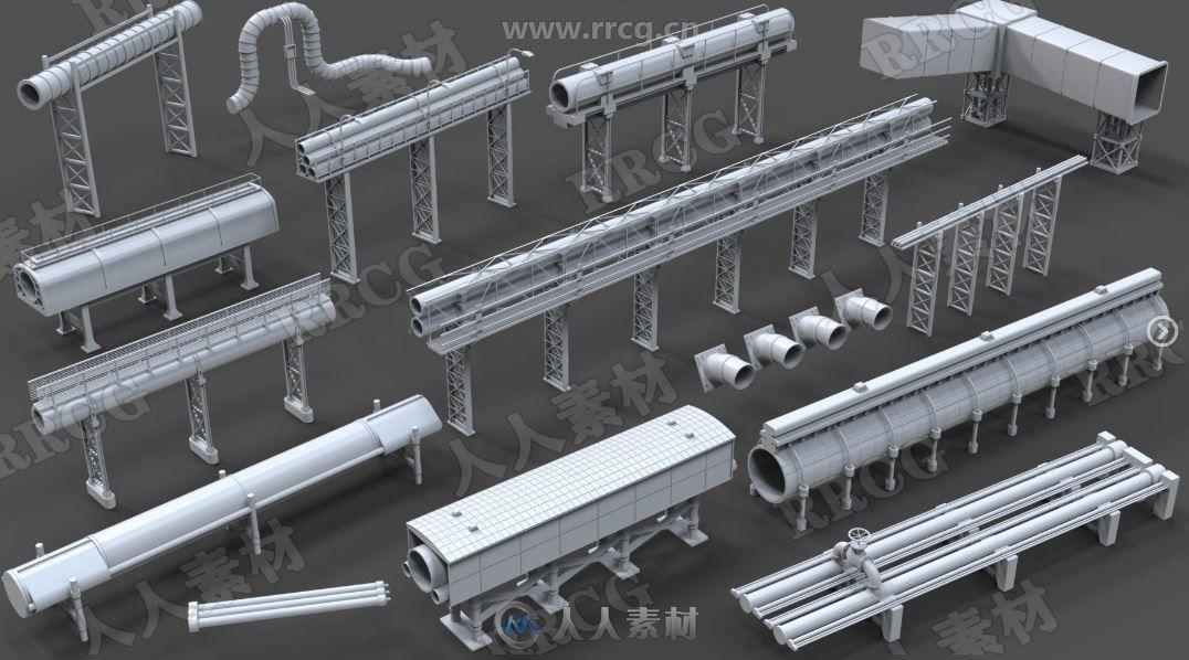 15组高质量工业管道3D模型合集