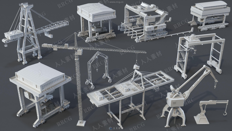 21组高质量塔式集装箱港口起重机3D模型合集