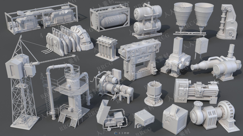20组高质量工厂生成设备机器相关3D模型合集