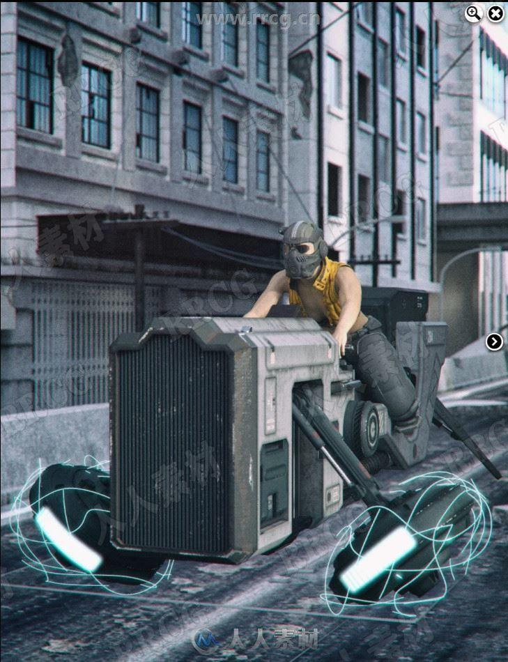 科幻都市未来外星人悬空自行车3D模型合集