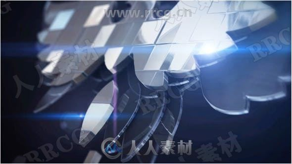 3D立体银色和原始徽标颜色叠放LOGO动画演绎AE模板