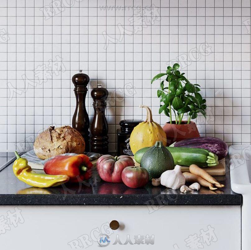 76组高质量水果蔬菜相关事务3D模型与PBR纹理合集
