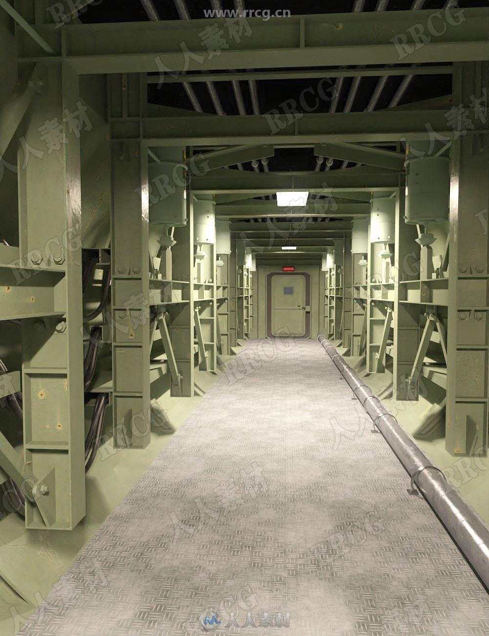 工业军事导弹仓库道具神秘地下走廊3D模型合集