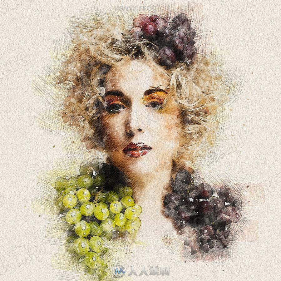 水彩晕染素描结合人物肖像艺术图像处理特效PS动作