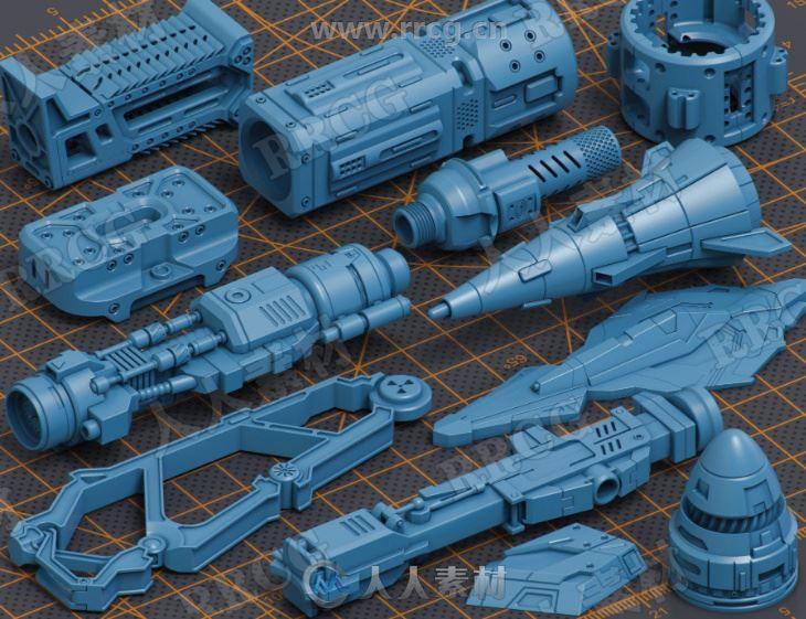 500组高质量科幻高达机器人零件组件3D模型合集