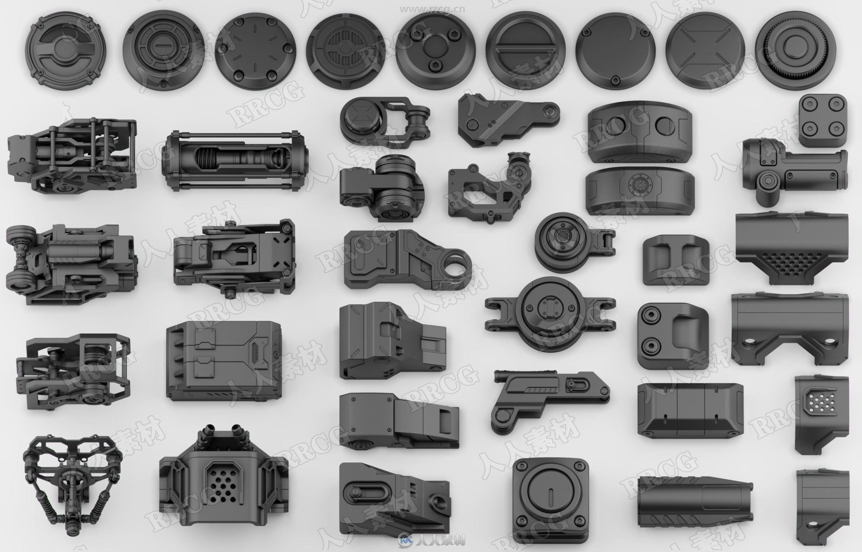 150组高质量科幻车辆零件组件3D模型合集