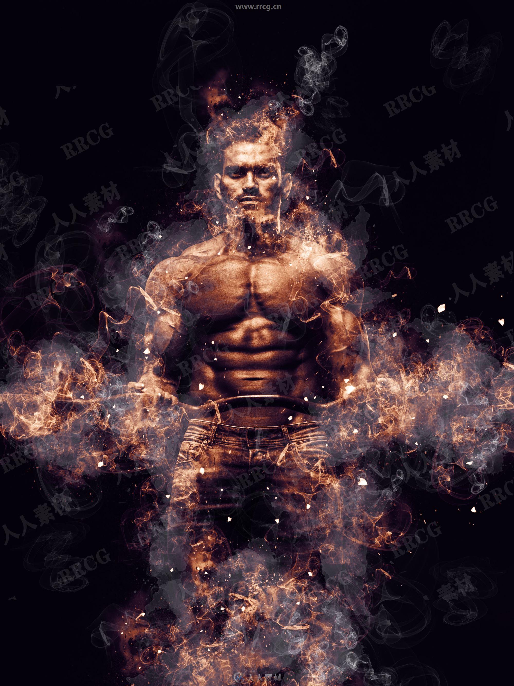 物体周围火焰爆炸燃烧艺术图像处理特效PS动作