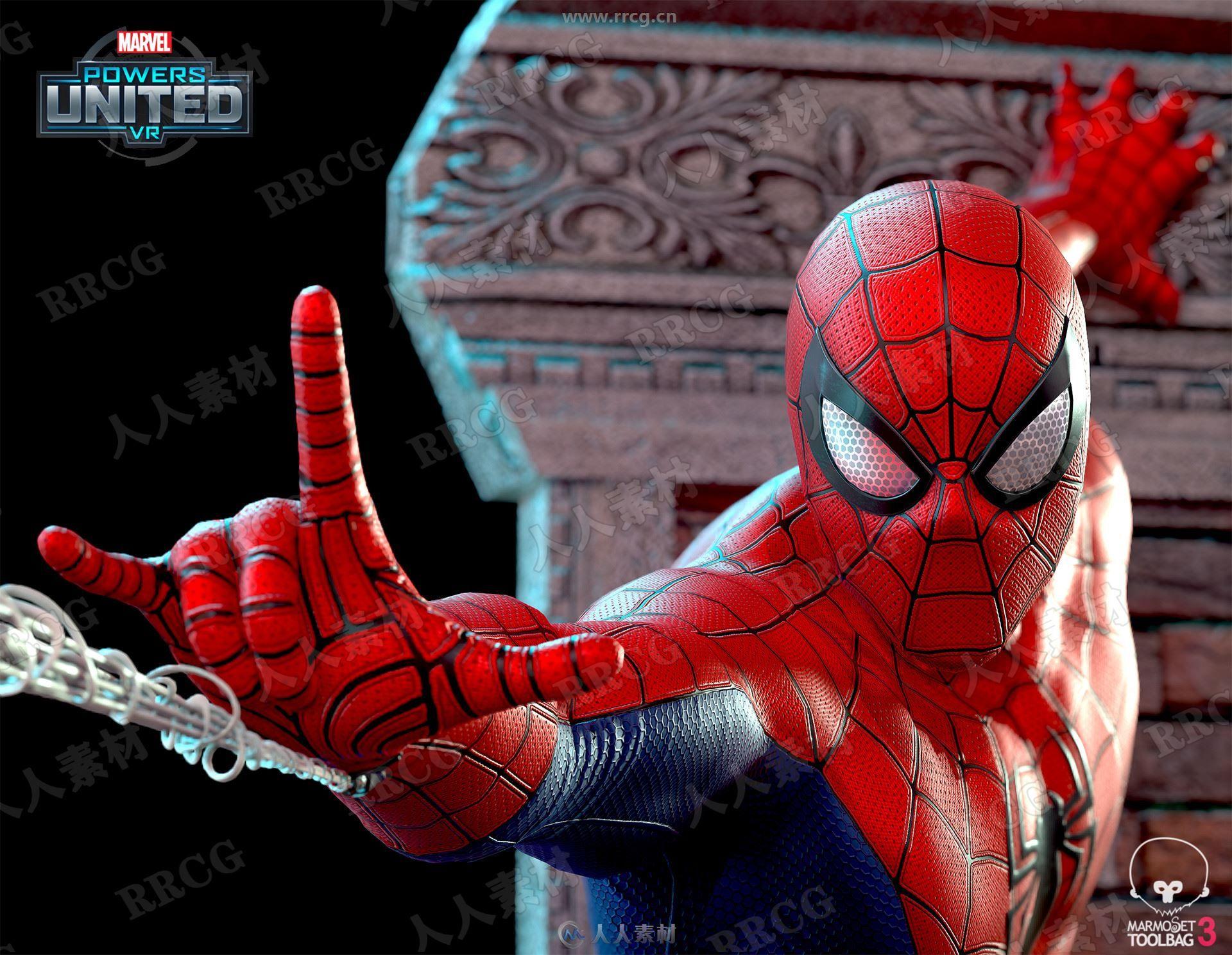 超精致漫威蜘蛛侠完整3D模型与PBR纹理