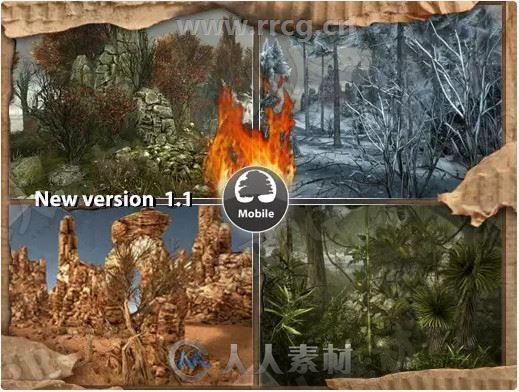 逼真立体森林沙漠岩石村庄环境场景Unity游戏素材资源