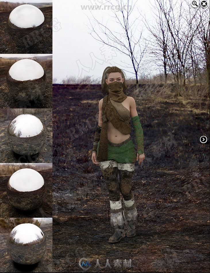 土地被烧毁空旷荒凉山坡环境3D模型合集