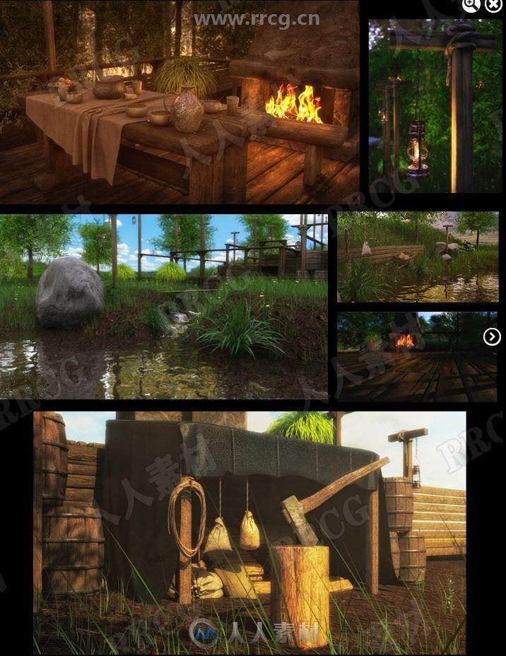 浪漫温暖室外乡村森林池塘野炊露营场景3D模型合集