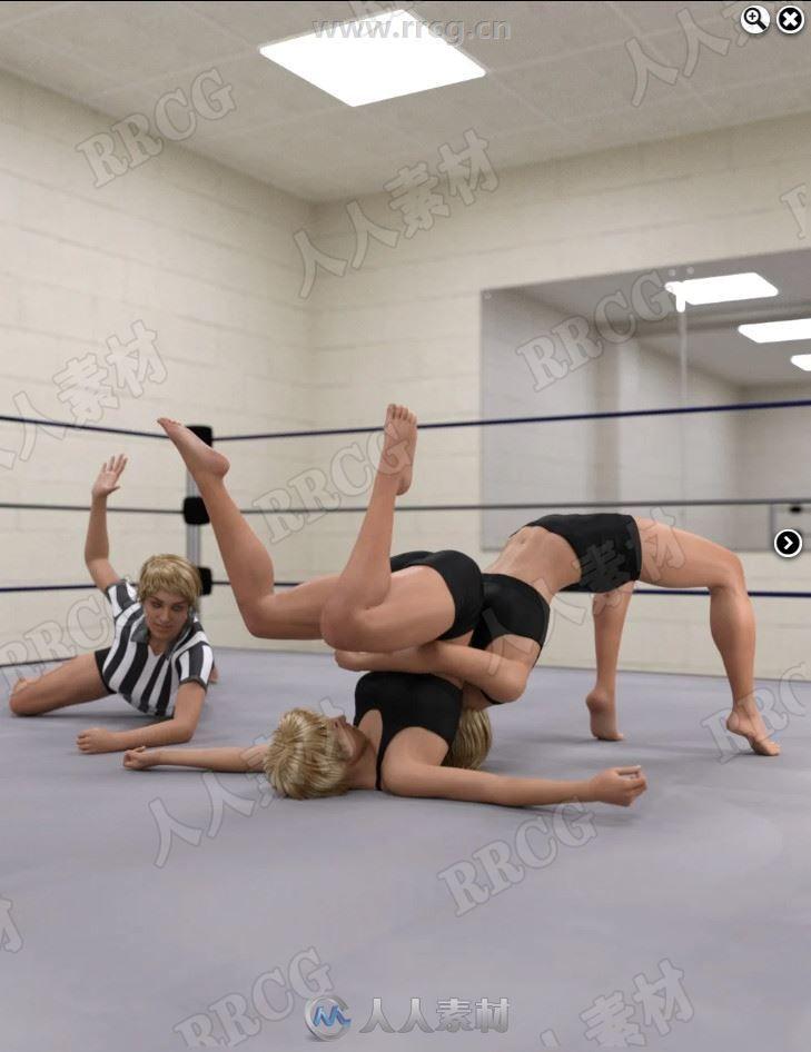 女性职业格斗生动摔跤姿势3D模型合集