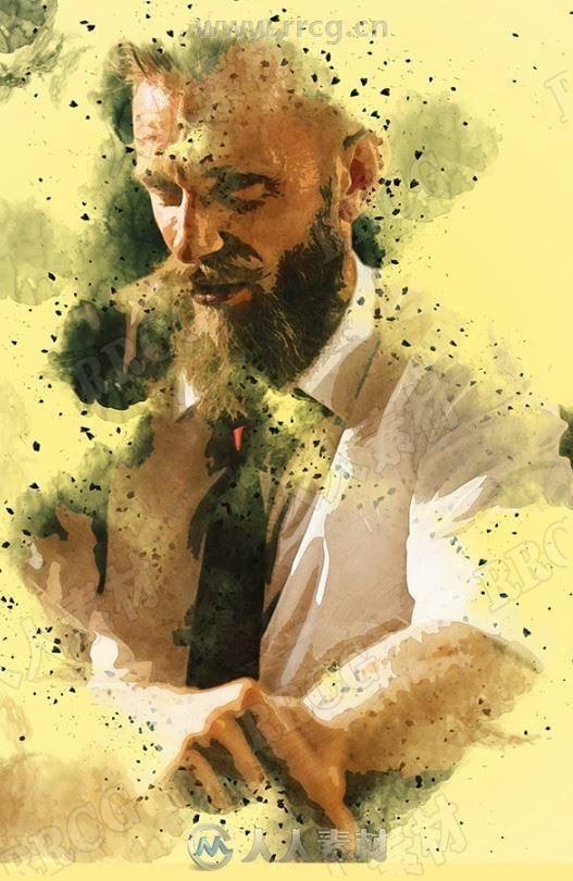黄色背景人物肖像边缘飞溅水彩画艺术图像处理特效PS动作
