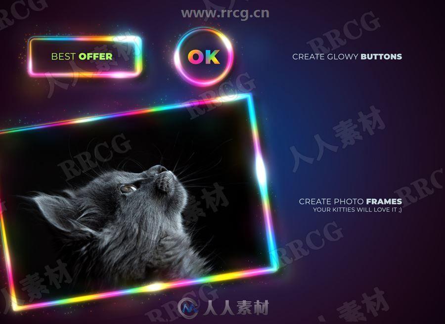 彩虹发光灯带图形字母标题艺术图像处理特效PS动作