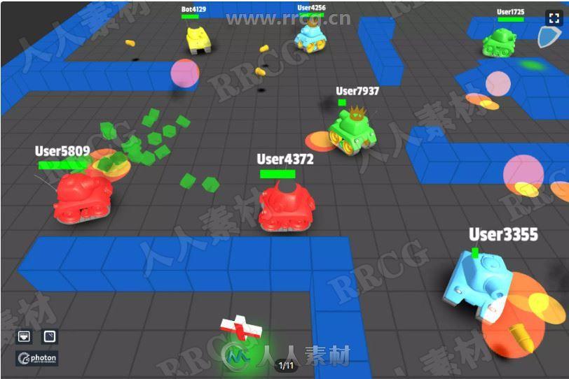 3D立体多人坦克大战完整教程模板Unity游戏素材资源
