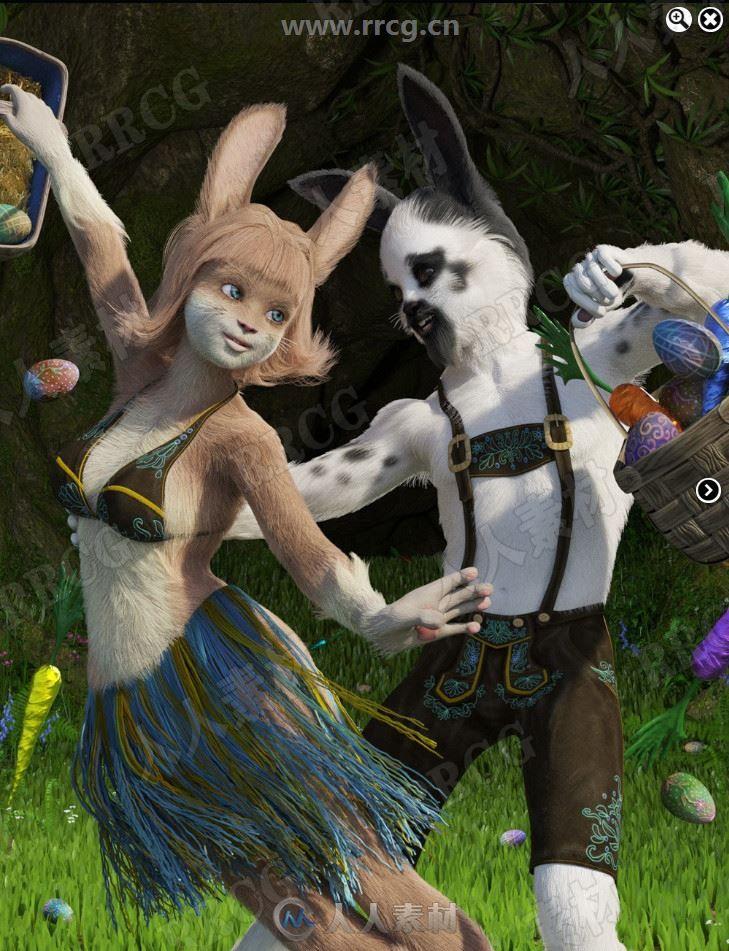 人形兔子森林世界童话角色3D模型合集