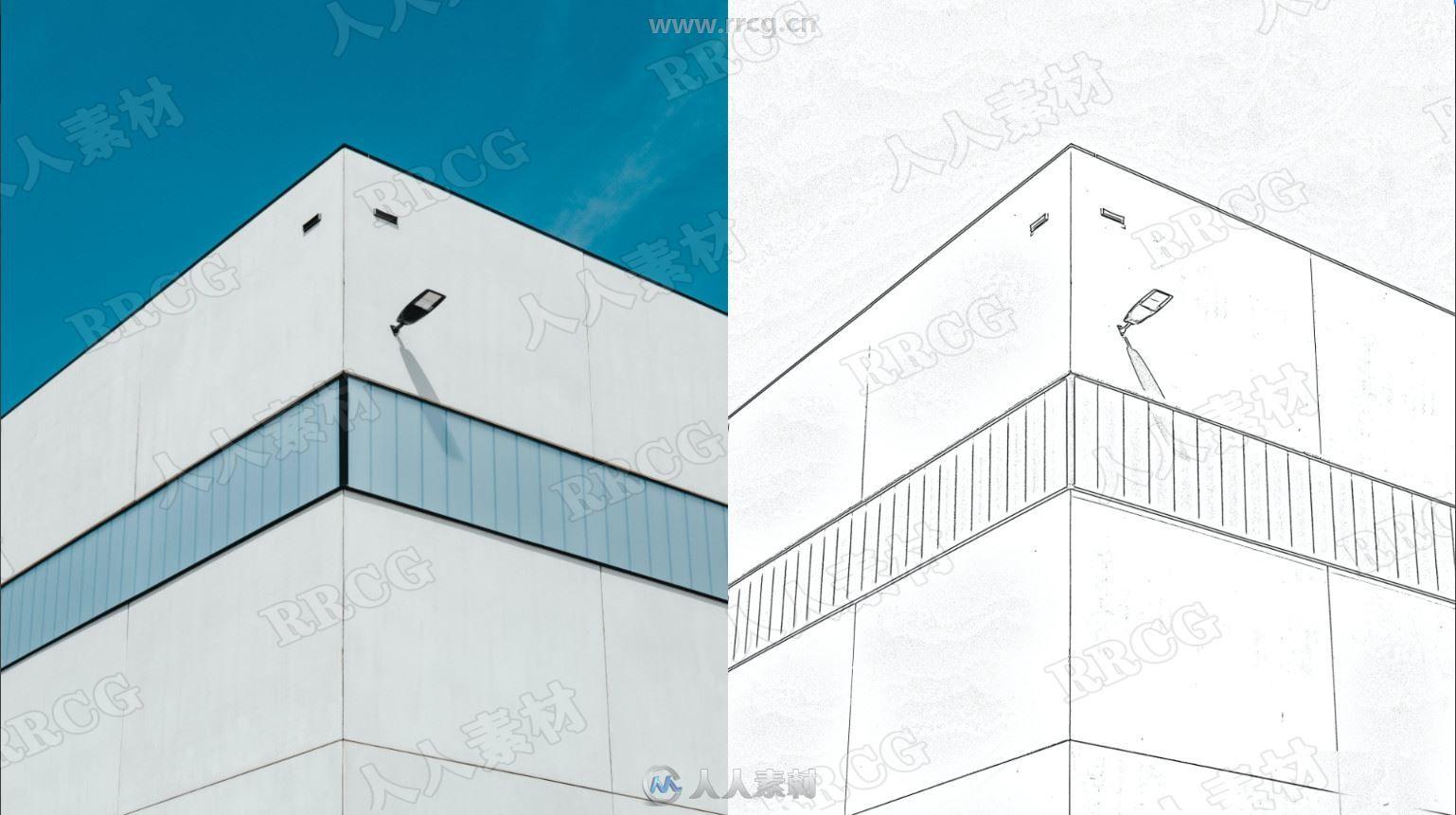 建筑速写黑白线稿艺术图像处理特效PS动作