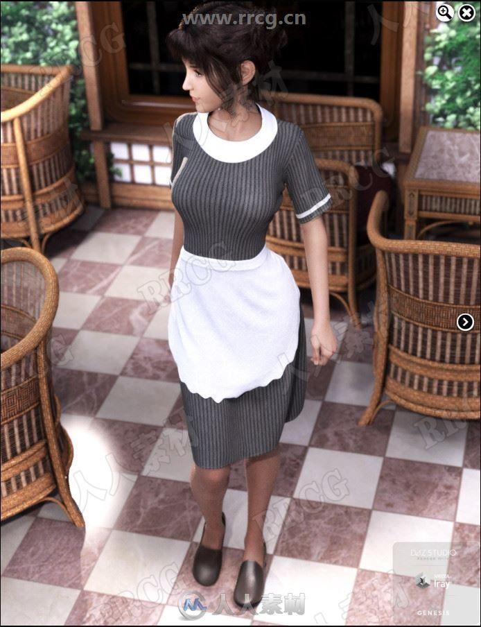 复古风格女性服务员围裙制服3D模型合集
