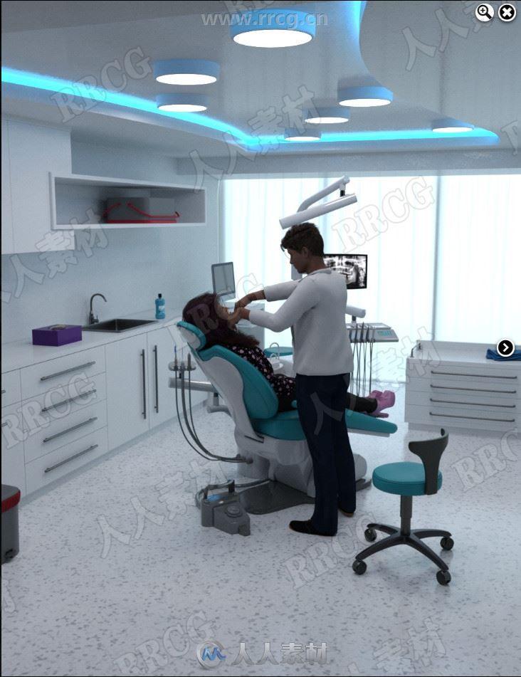 现代先进舒适室内牙科诊所3D模型合集
