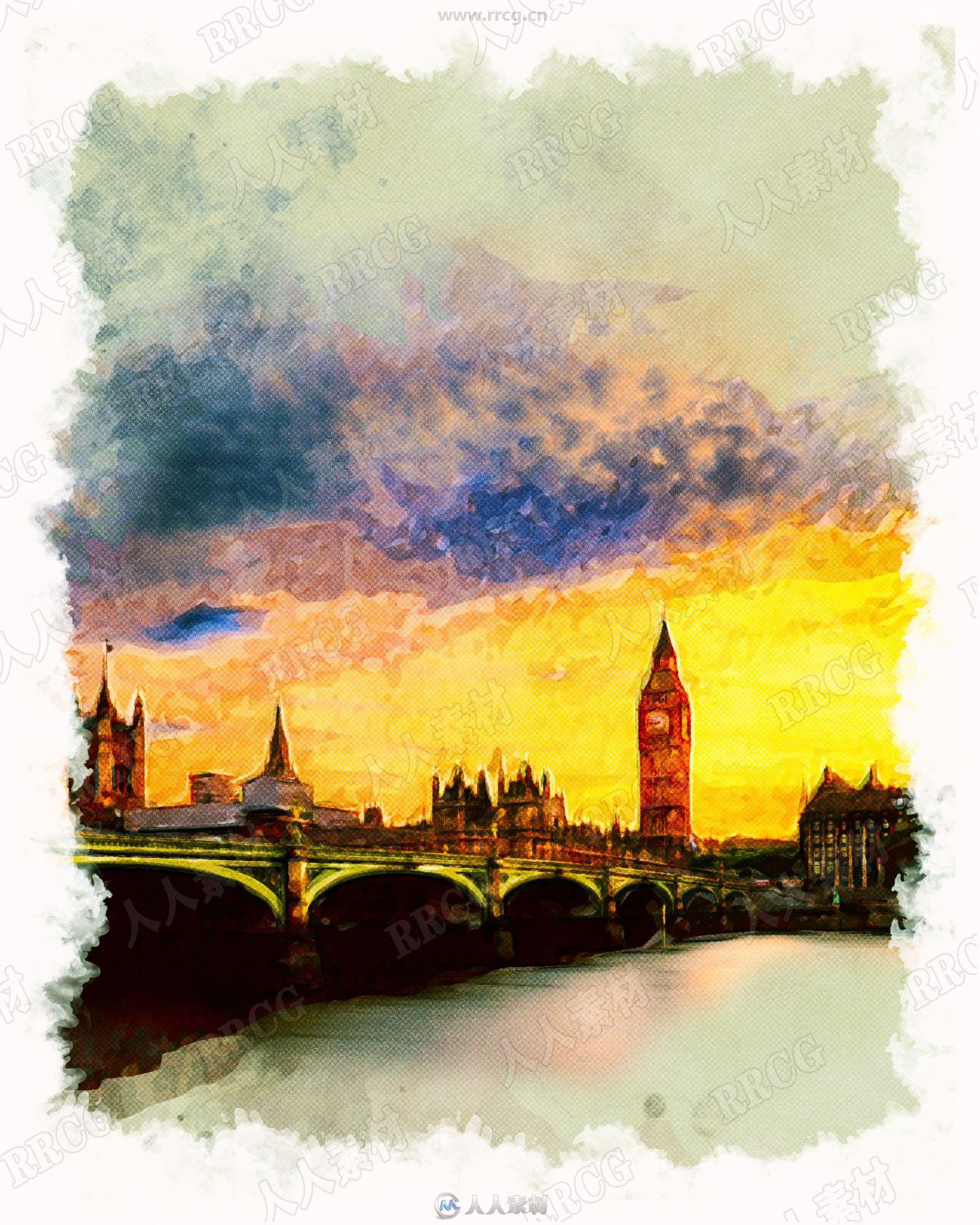 复古建筑风景油画艺术图像处理特效PS动作