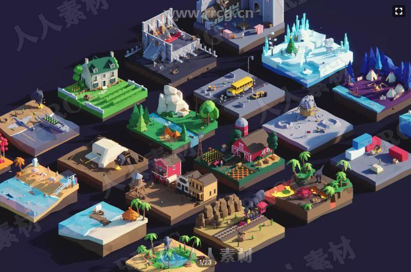 低聚古代宫殿建筑3D游戏场景道具工具Unity游戏素材资源